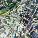 Aerial city view with crossroads and roads, houses, buildings, parks and parking lots. Sunny summer panoramic image, фото № 26689334, снято 23 июля 2017 г. (c) Александр Маркин / Фотобанк Лори