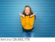 Купить «happy young woman or teen girl in casual clothes», фото № 26692778, снято 31 октября 2015 г. (c) Syda Productions / Фотобанк Лори
