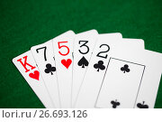 Купить «poker hand of playing cards on green casino cloth», фото № 26693126, снято 15 марта 2017 г. (c) Syda Productions / Фотобанк Лори