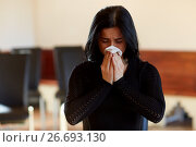 Купить «crying woman with wipe at funeral in church», фото № 26693130, снято 20 марта 2017 г. (c) Syda Productions / Фотобанк Лори