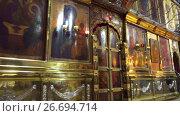 Купить «Trinity Cathedral in Lavra, Sergiyev Posad, Russia», видеоролик № 26694714, снято 25 октября 2016 г. (c) BestPhotoStudio / Фотобанк Лори