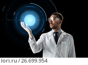 Купить «scientist in lab goggles with virtual projection», фото № 26699954, снято 9 марта 2017 г. (c) Syda Productions / Фотобанк Лори