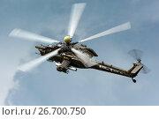 Купить «Ми-28Н выполняет пилотаж на МАКС-2017», эксклюзивное фото № 26700750, снято 20 июля 2017 г. (c) Alexei Tavix / Фотобанк Лори