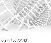 Купить «Abstract white digital background, twisted wire 3d», иллюстрация № 26701834 (c) EugeneSergeev / Фотобанк Лори