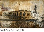 Купить «Historical architecture in retro photo, Kostroma, Russia», фото № 26702118, снято 15 июля 2017 г. (c) ElenArt / Фотобанк Лори