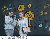 Купить «Happy business women looking at a tablet against blue background with graphics», фото № 26707846, снято 28 мая 2020 г. (c) Wavebreak Media / Фотобанк Лори