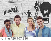Купить «Group of people in front of teamwork graphics», фото № 26707886, снято 27 мая 2020 г. (c) Wavebreak Media / Фотобанк Лори