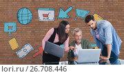 Купить «Business people at a desk looking at a computer against brick wall with graphics», фото № 26708446, снято 29 мая 2020 г. (c) Wavebreak Media / Фотобанк Лори