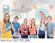 Купить «Group of students in front of business graphics», фото № 26710286, снято 27 мая 2020 г. (c) Wavebreak Media / Фотобанк Лори
