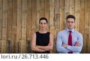 Купить «Composite image of business colleagues posing with crossed arms», фото № 26713446, снято 30 мая 2020 г. (c) Wavebreak Media / Фотобанк Лори