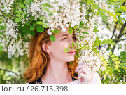 Redhead model among Flowers acacia. Стоковое фото, фотограф Вячеслав / Фотобанк Лори