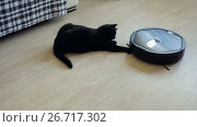 Купить «Black cat playing with robotic vacuum cleaner which is cleaning floor. 4K», видеоролик № 26717302, снято 30 июня 2017 г. (c) ActionStore / Фотобанк Лори