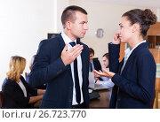 Купить «Portrait of angry boss and upset employee», фото № 26723770, снято 4 апреля 2020 г. (c) Яков Филимонов / Фотобанк Лори