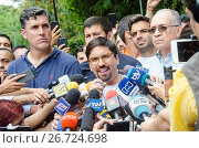 Купить «Freddy Guevara, leader of the People's Will and First Vice-President of the National Assembly of Venezuela, gives statements to the press about the resolution...», фото № 26724698, снято 8 июля 2017 г. (c) age Fotostock / Фотобанк Лори