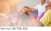 Купить «Senior people holding hands in gym», фото № 26726222, снято 14 июля 2020 г. (c) Wavebreak Media / Фотобанк Лори