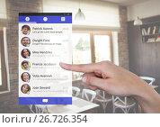 Купить «Hand touching Social Media App Interface in cafe», фото № 26726354, снято 28 марта 2020 г. (c) Wavebreak Media / Фотобанк Лори