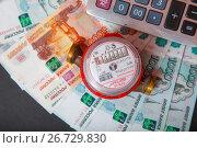 Купить «Подсчет расходов за водопотребление», эксклюзивное фото № 26729830, снято 16 июля 2017 г. (c) Иван Карпов / Фотобанк Лори