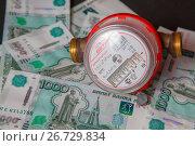 Купить «Водосчетчик и банкноты банка России», эксклюзивное фото № 26729834, снято 16 июля 2017 г. (c) Иван Карпов / Фотобанк Лори