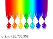 Купить «Капли всех цветов радуги на белом фоне. Rainbow color drops on white», иллюстрация № 26730958 (c) Анастасия Некрасова / Фотобанк Лори