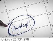 Купить «Payday Text written on calendar with marker», фото № 26731978, снято 26 сентября 2018 г. (c) Wavebreak Media / Фотобанк Лори