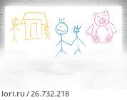 Купить «colorful children's drawings on screen», иллюстрация № 26732218 (c) Wavebreak Media / Фотобанк Лори