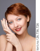 beauty portrait of young woman on gray, фото № 26736726, снято 10 февраля 2012 г. (c) Tatjana Romanova / Фотобанк Лори