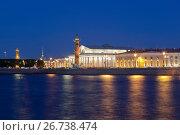 Купить «Вид летней ночью на Биржу и Ростральные колонны в Санкт-Петербурге», фото № 26738474, снято 18 июня 2017 г. (c) Николай Мухорин / Фотобанк Лори