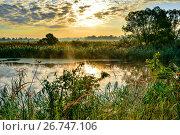 Photo with a sunny summer sunrise over the river. Стоковое фото, фотограф Олеся Новицкая / Фотобанк Лори