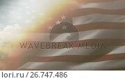 Купить «Flag of the United States waving against sky and clouds 4k», видеоролик № 26747486, снято 24 марта 2019 г. (c) Wavebreak Media / Фотобанк Лори
