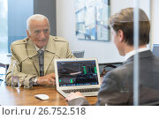Купить «Financial advisor consulting senior client with his investment strategy.», фото № 26752518, снято 21 августа 2019 г. (c) Matej Kastelic / Фотобанк Лори
