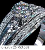 Купить «Silver engagement ring with diamond gem.», иллюстрация № 26753538 (c) Gennadiy Poznyakov / Фотобанк Лори