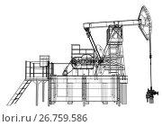 Купить «Oil pump jack in wire-frame style», иллюстрация № 26759586 (c) Кирилл Черезов / Фотобанк Лори