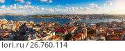 Купить «Panorama of Golden Horn Gulf and the Bosphorus in Istanbul», фото № 26760114, снято 21 октября 2018 г. (c) Mikhail Starodubov / Фотобанк Лори