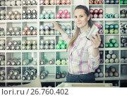 Купить «portrait of woman choosing paint color in aerosol can in art shop», фото № 26760402, снято 12 апреля 2017 г. (c) Яков Филимонов / Фотобанк Лори