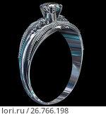 Купить «Silver engagement band with diamond gem.», иллюстрация № 26766198 (c) Gennadiy Poznyakov / Фотобанк Лори