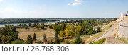 Купить «Панорамный вид на Дунай и Белград с высоты Белградской крепости, Сербия», фото № 26768306, снято 31 июля 2017 г. (c) V.Ivantsov / Фотобанк Лори