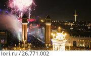 Купить «General view on Placa Espana in Barcelona during New Year celebrations», видеоролик № 26771002, снято 8 января 2017 г. (c) Яков Филимонов / Фотобанк Лори