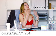 Купить «Sexy business woman wearing red bra in workplace in hot office», видеоролик № 26771754, снято 29 апреля 2017 г. (c) Яков Филимонов / Фотобанк Лори