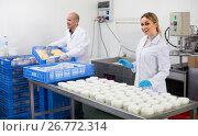 Купить «Workers on cottage cheese production», фото № 26772314, снято 20 октября 2019 г. (c) Яков Филимонов / Фотобанк Лори