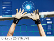 goalkeeper or soccer player hands at football goal. Стоковое фото, фотограф Syda Productions / Фотобанк Лори