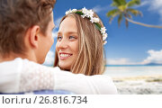 happy smiling young hippie couple on summer beach. Стоковое фото, фотограф Syda Productions / Фотобанк Лори