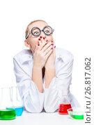 Купить «emotions of a funny lab technician who works with test tubes», фото № 26817062, снято 4 апреля 2017 г. (c) Константин Лабунский / Фотобанк Лори