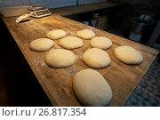 Купить «yeast bread dough on bakery kitchen table», фото № 26817354, снято 15 мая 2017 г. (c) Syda Productions / Фотобанк Лори