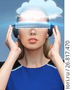 Купить «woman in virtual reality 3d glasses with cloud», фото № 26817470, снято 17 ноября 2012 г. (c) Syda Productions / Фотобанк Лори