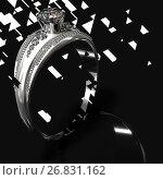 Купить «Silver engagement band with diamond gem. Graphic design.», иллюстрация № 26831162 (c) Gennadiy Poznyakov / Фотобанк Лори