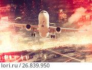 Купить «Plane on city background», фото № 26839950, снято 19 октября 2018 г. (c) Яков Филимонов / Фотобанк Лори