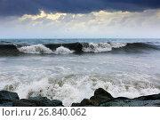Купить «sea wave near stones coast», фото № 26840062, снято 15 октября 2018 г. (c) Яков Филимонов / Фотобанк Лори