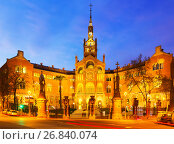 Купить «Facade of Hospital de Sant Pau in sunset», фото № 26840074, снято 24 февраля 2019 г. (c) Яков Филимонов / Фотобанк Лори