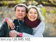 Купить «Happy mature couple outdoors», фото № 26845102, снято 19 марта 2019 г. (c) Яков Филимонов / Фотобанк Лори