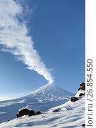 Зима на действующем вулкане Ключевская сопка на Камчатке, фото № 26854550, снято 5 января 2016 г. (c) А. А. Пирагис / Фотобанк Лори